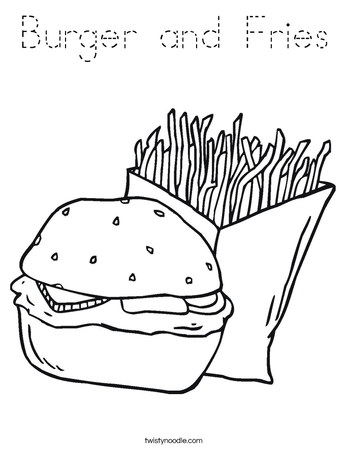 Burger and Fries Coloring Page