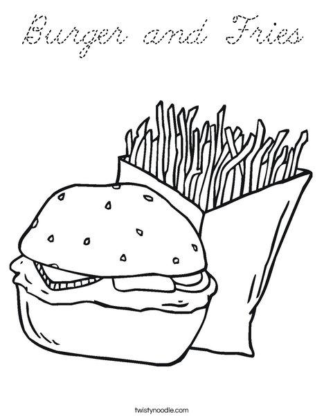 Hamburger and Fries Coloring Page