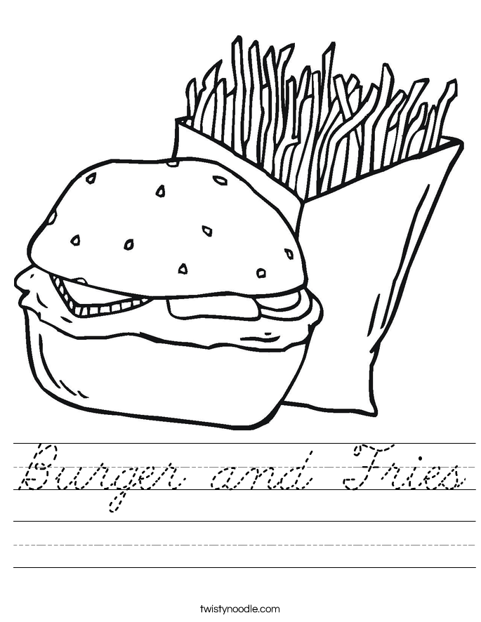 Burger and Fries Worksheet