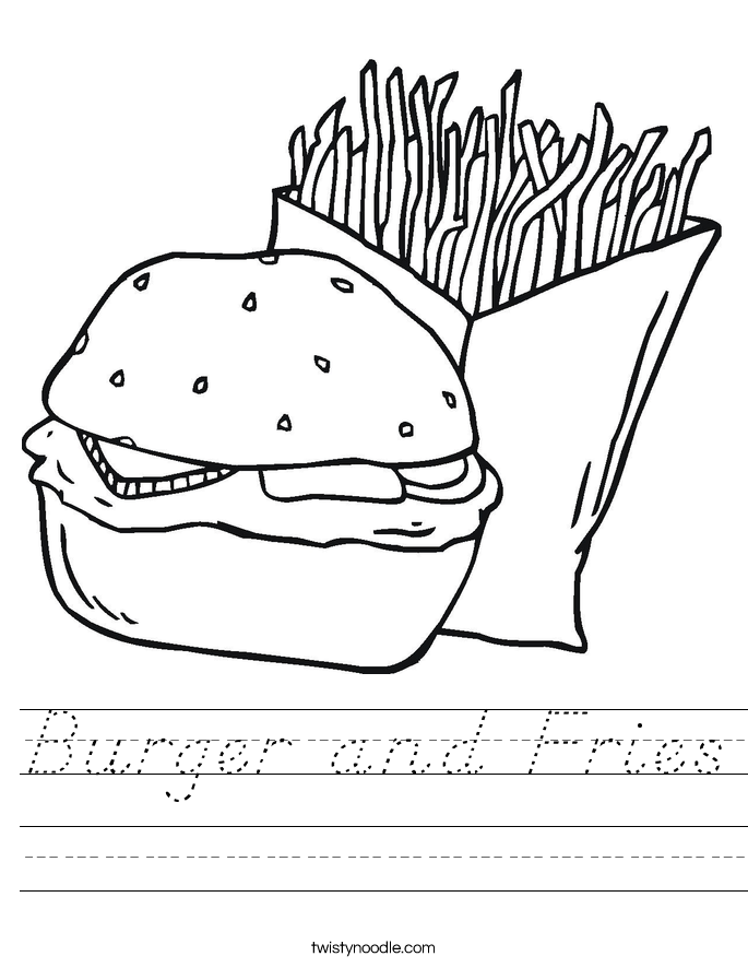 Burger and Fries Worksheet