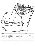 Burger and Fries Coloring Page - Twisty Noodle