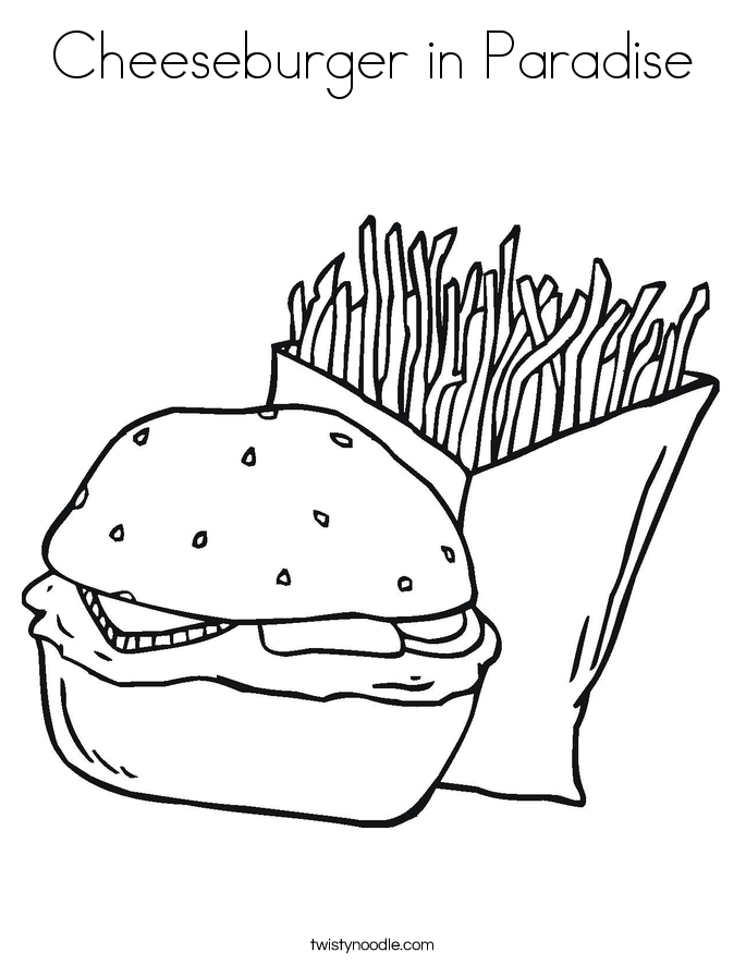 Cheeseburger In Paradise Coloring Page Twisty Noodle Cheeseburger Coloring Page