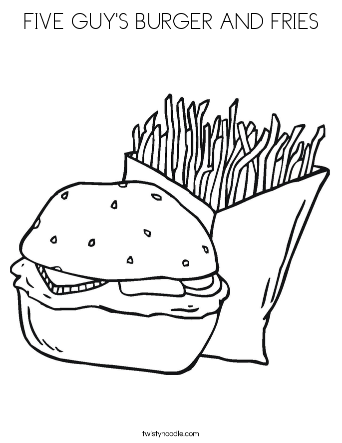 FIVE GUY'S BURGER AND FRIES Coloring Page