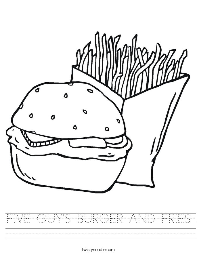 FIVE GUY'S BURGER AND FRIES Worksheet