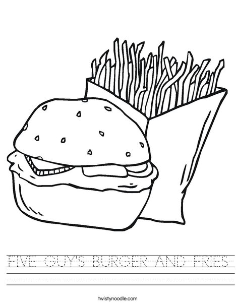 Hamburger and Fries Worksheet