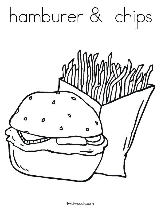 hamburer &  chips Coloring Page