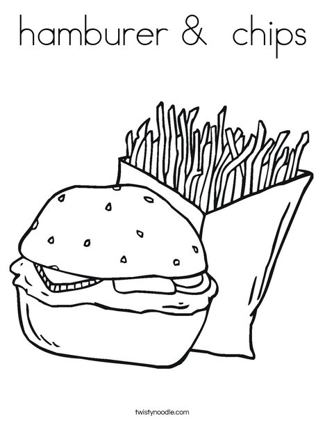 Hamburger and Fries Coloring Page