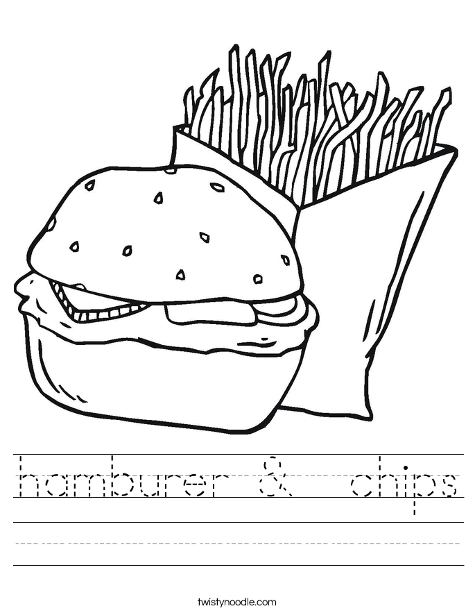 hamburer &  chips Worksheet