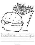 hamburer &  chips Worksheet
