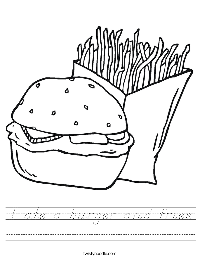 I ate a burger and fries Worksheet
