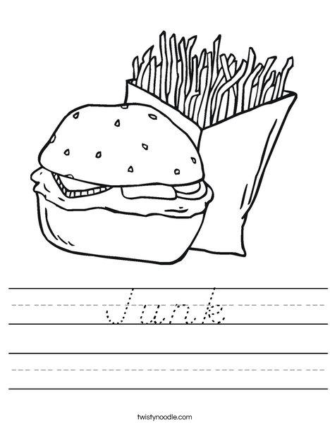 Hamburger and Fries Worksheet