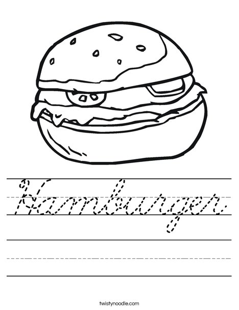 hamburger worksheet cursive twisty noodle. Black Bedroom Furniture Sets. Home Design Ideas