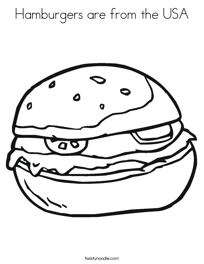 Hamburgers are from the USA Coloring Page