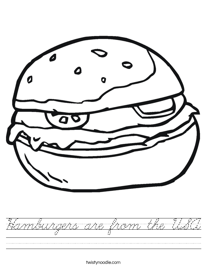 Hamburgers are from the USA Worksheet