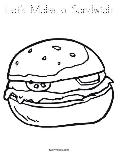 Hamburger Coloring Page