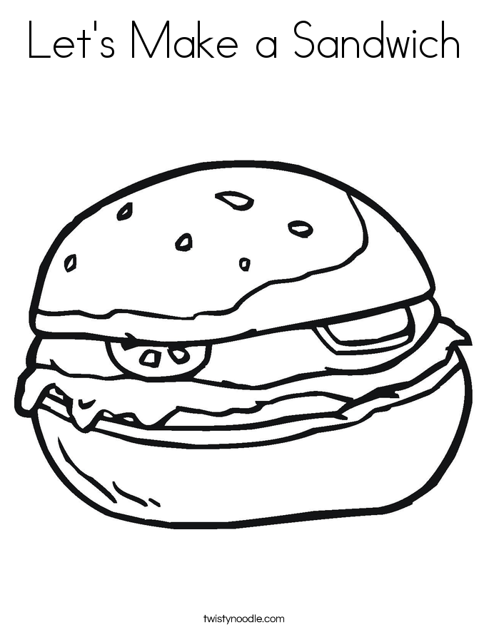 Let's Make a Sandwich Coloring Page