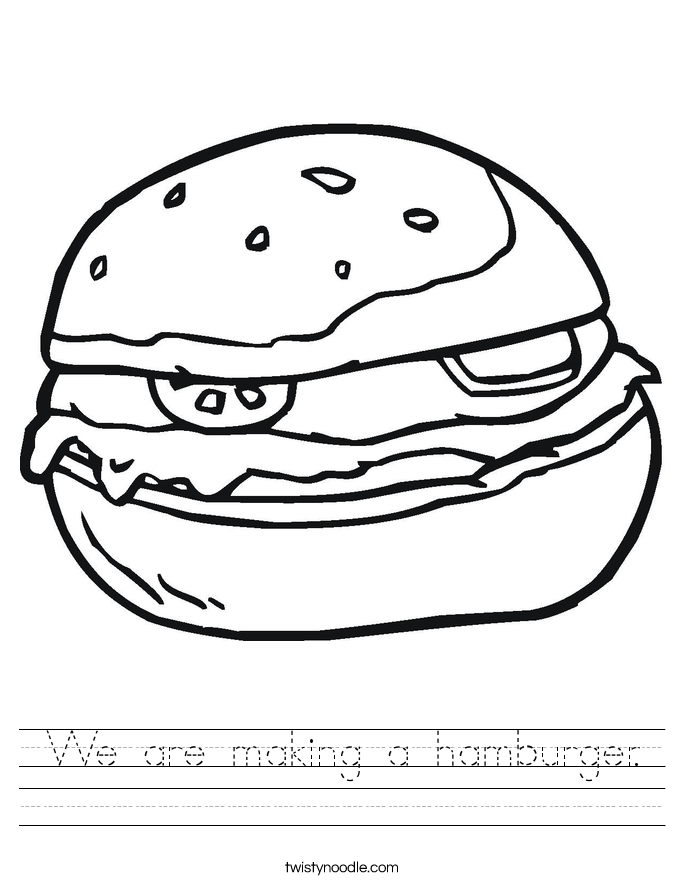 We are making a hamburger. Worksheet
