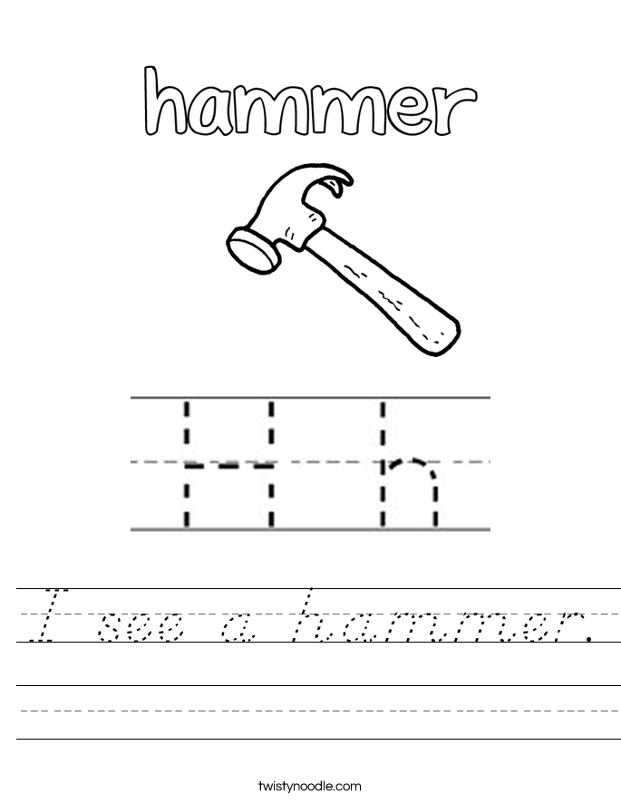 I see a hammer. Worksheet