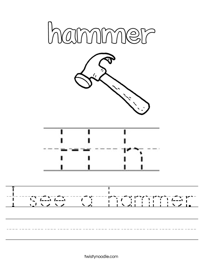 I see a hammer. Worksheet