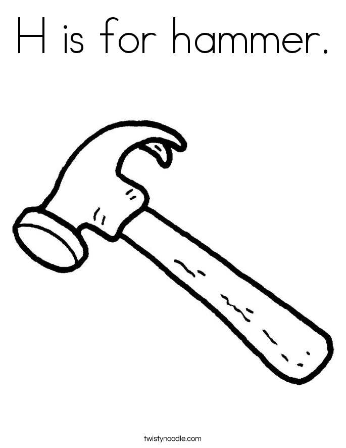 H is for hammer. Coloring Page
