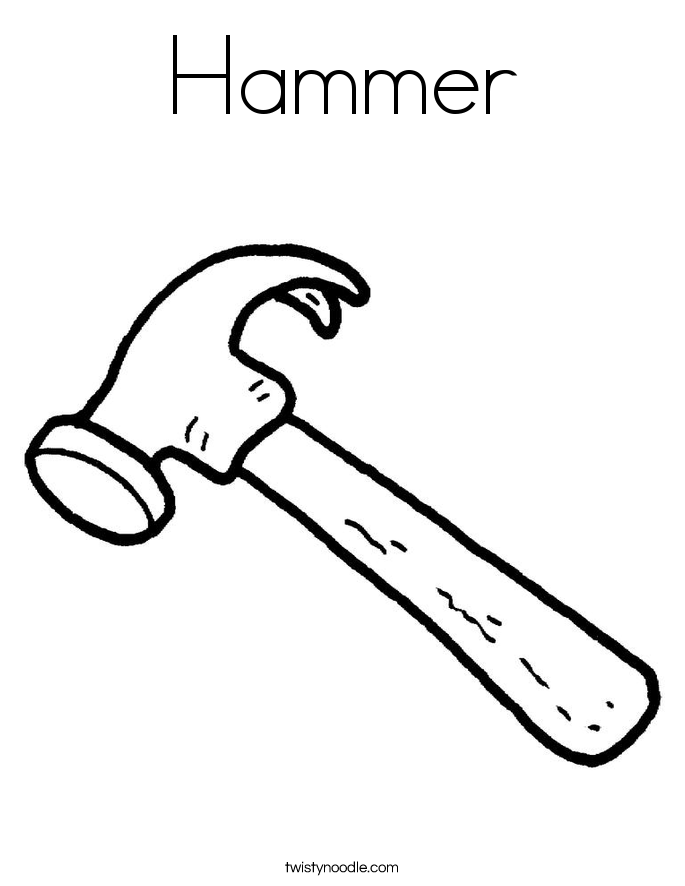 coloring pages hammer | Hammer Coloring Page - Twisty Noodle