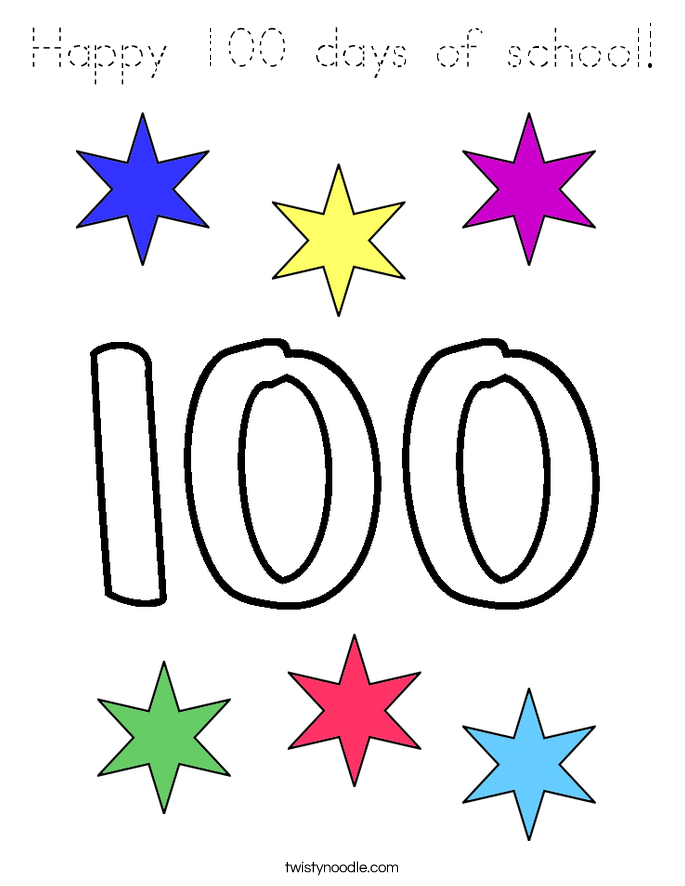 Happy 100 days of school coloring page tracing twisty for 100 days of school coloring page