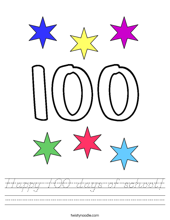 happy 100 days of school worksheet d 39 nealian twisty noodle. Black Bedroom Furniture Sets. Home Design Ideas