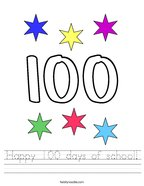 Happy 100 days of school Handwriting Sheet