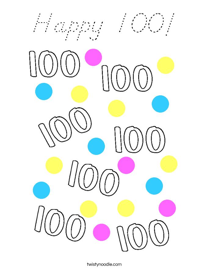 Happy 100! Coloring Page