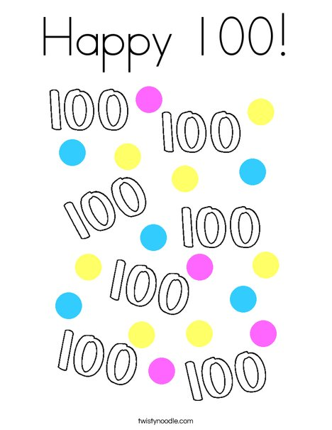 Happy 100! Coloring Page