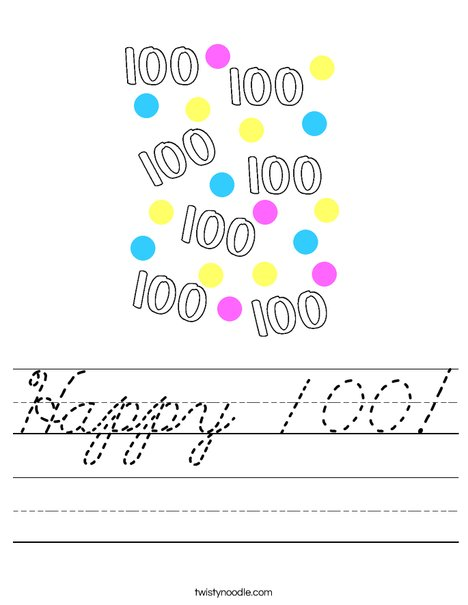 Happy 100! Worksheet