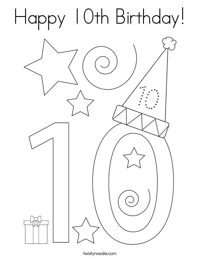 Happy 10th Birthday! Coloring Page