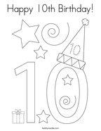 Happy 10th Birthday Coloring Page