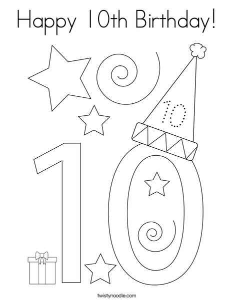 Happy 10th Birthday Coloring Page - Twisty Noodle