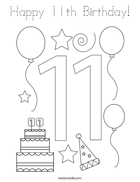 Happy 11th Birthday! Coloring Page