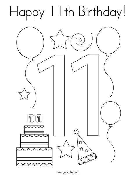 Happy 11th Birthday Coloring Page - Twisty Noodle