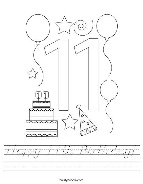 Happy 11th Birthday! Worksheet