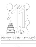 Happy 11th Birthday Handwriting Sheet