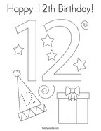 Happy 12th Birthday Coloring Page