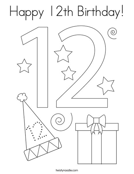 Happy 12th Birthday! Coloring Page