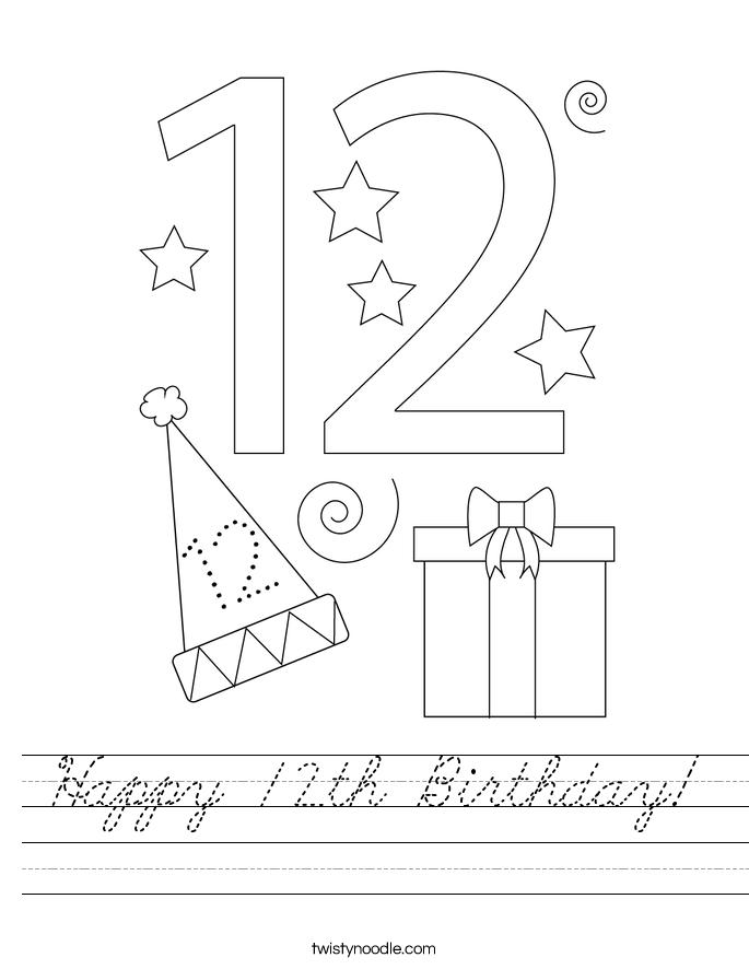 Happy 12th Birthday! Worksheet