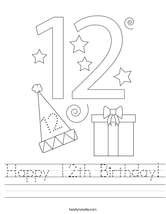 Happy 12th Birthday! Worksheet