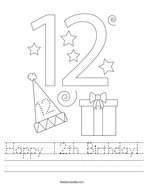 Happy 12th Birthday Handwriting Sheet