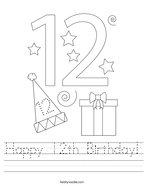 Happy 12th Birthday Handwriting Sheet