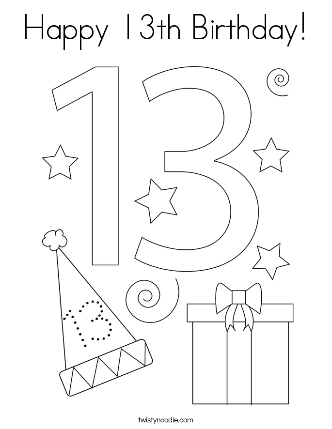Happy 13th Birthday! Coloring Page