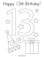 Happy 13th Birthday Coloring Page