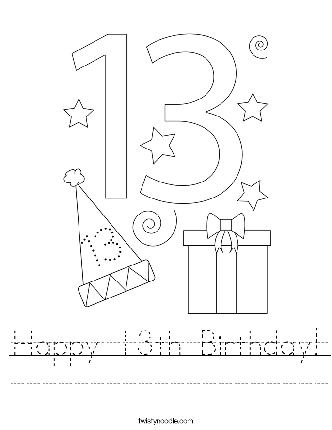Happy 13th Birthday! Worksheet