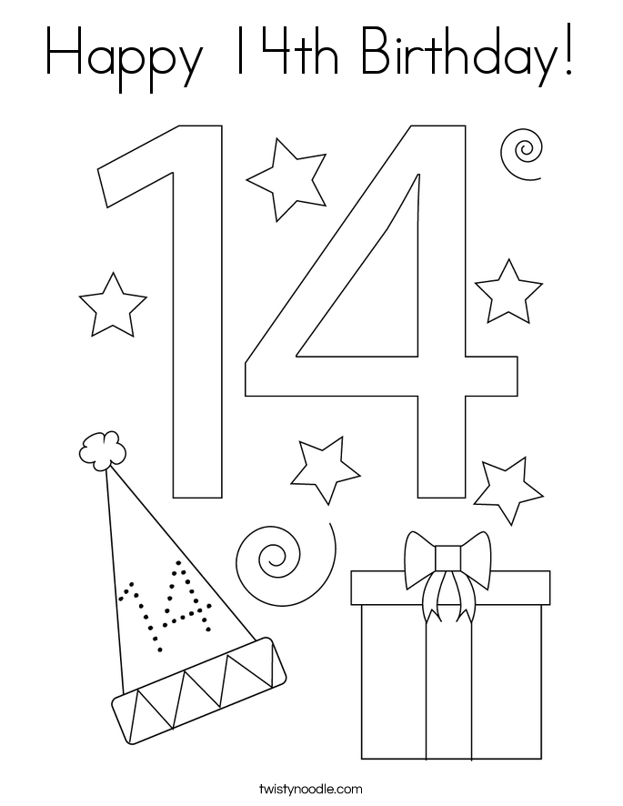 Happy 14th Birthday! Coloring Page
