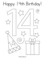 Happy 14th Birthday Coloring Page