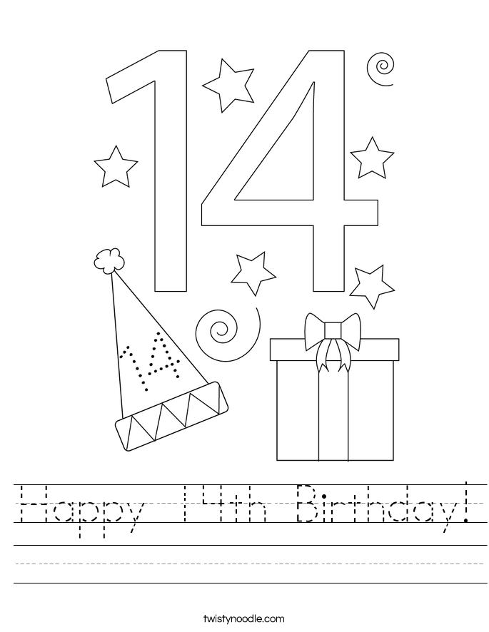 Happy 14th Birthday Worksheet - Twisty Noodle